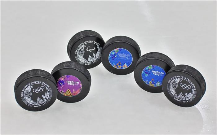 Sochi hockey pucks