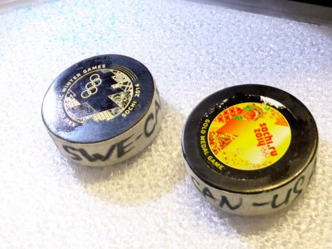 Sochi Olympic hockey pucks