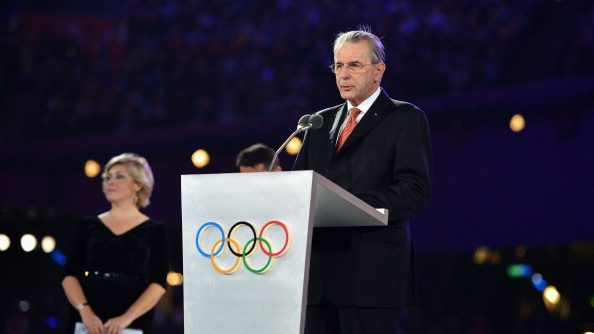 IOC President Jacques Rogge makes a spee